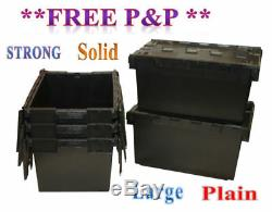 10 Black LARGE Nearly New Plastic Removal Storage Crate Box Container 80L