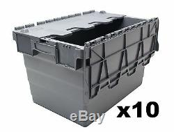 10 New Large Plastic Removal Storage Crate Box Container with Attached Lids 64L