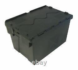 10 x Black Plain Plastic Storage Removal Crate Container 54L