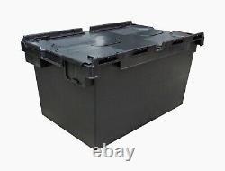 10 x LARGE Black Plastic Crates Storage Boxes 80 Litre