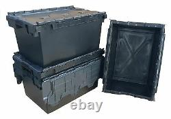 10 x NEW BLACK 80 Litre Plastic Storage Boxes Containers Crates Totes with Lids