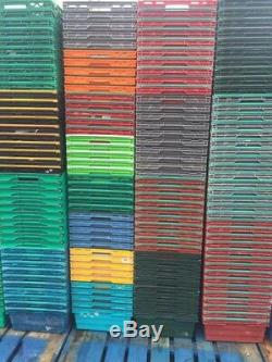 100 x Bail Arm Crates Bale Arm Plastic Boxes Stacking Trays 600 x 400 x 200mm