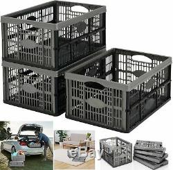 10x Plastic Folding Storage Container Basket Crate Stacking Box Collapsible New