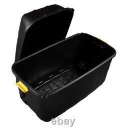 175L Heavy Duty Trunk, Storage Box on Wheels Clip Handles & Secure Lid