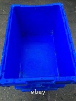 20 X Large Heavy Duty Plastic Moving Storage Lidded Tote Boxes 70x46x34cm 90Ltr