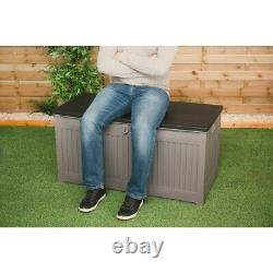 272L Outdoor Garden Storage Plastic Box Chest Tools Cushions Toys Lockable Seat