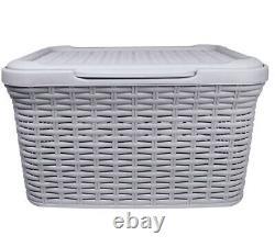 27l Grey Plastic Faux Rattan Effect Laundry Storage Box Basket LID Carry Handle