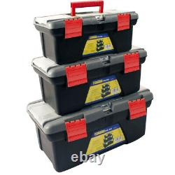 3pc Plastic Tool Box Chest Set Handle Tray Compartment Diy Storage Toolbox Red