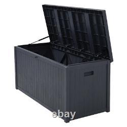 430L Storage Box Outdoor Garden Cushion Deck Shed Box Utility Chest Grey Plastic