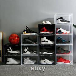 5/12/20x Plastic Shoe Boxes Drawer Stackable Storage Cabinet Nonslip Organiser
