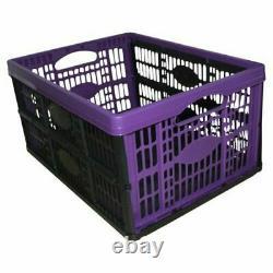 5 X Purple Plastic Fold Flat Stackable Storage Folding Crates Boxes 32 Litre