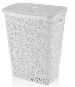 57 Litre Large Laundry Basket Woven Plastic LACE Washing Bin Hamper Storage Box