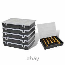 6 pcs Plastic Storage Box Sort Case 21 Compartments Nuts Bolts Screws Organiser