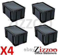 64l Really Useful Box Recycled Plastic In Black With LID Pack Of 4