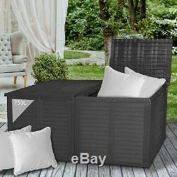 750L Storage Box Rattan Double Lid Cushion Garden Box Outdoor Plastic Tool Chest