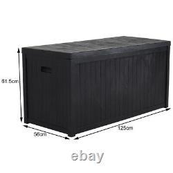 AllBlack 430L Garden Storage Chest Cushion Box Waterproof Outdoor Deck Case Shed