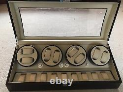 Automatic Watch Winder Box with 8 turning & 9 Storage Spaces for Men