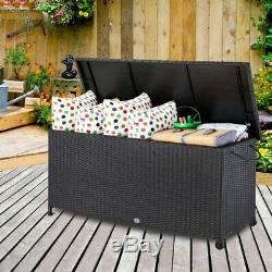 Black Rattan Storage Box Outdoor Plastic Garden Chest Patio Waterproof Container