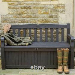 Garden Patio Waterproof Storage Bench Brown Plastic Shed Box