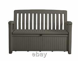 Garden Plastic Brown Storage Bench Seat Outdoor Box Patio LID Home Organiser New