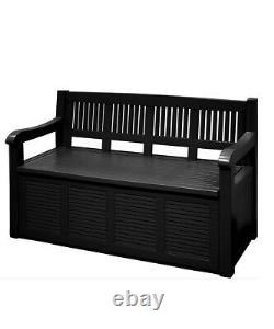 Garden Storage Bench 2 Seater Plastic Durable Weatherproof 280L Box Black