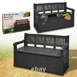 Garden Storage Bench Outdoor Plastic Cushion Box Waterproof Patio Furniture Seat