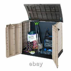 Garden Storage Box Wood Effect Keter Tools Shed Outside Beige / Brown XL