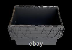 HEAVY DUTY BLACK Plastic Storage Boxes Totes Containers Crates with Lids