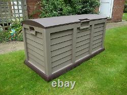 JUMBO XL Brown Garden Storage Utility Cushion Box Shed Plastic Waterproof