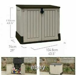 KETER Store It Out Midi 845L Outdoor Garden Storage Shed Box Beige/Brown