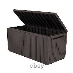 Keter 243547 Springwood 80 Gallon Resin Outdoor Storage Deck Box, Dark Brown