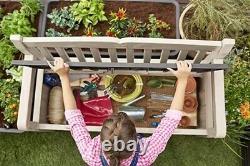Keter Eden Bench Outdoor Plastic Garden Storage Box Beige Brown Furniture