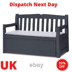 Keter Eden Bench Outdoor Storage Box Garden Furniture Graphite and Grey 132.5 L