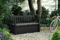 Keter Eden Bench Outdoor Storage Box Garden Furniture, Graphite and Grey, 140 x