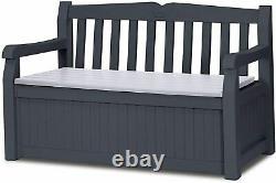 Keter Eden Outdoor Storage Bench Box Garden Furniture Graphite Grey 265L Durable