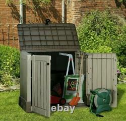Keter Store It Out Midi 845L Outdoor Plastic Garden Storage shed Box Beige Brown