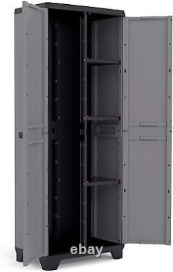 Keter Tall Plastic Cupboard Storage Outdoor Garden Utility Shelves Cabinet Box