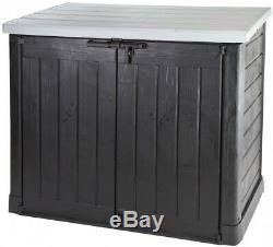 Keter Wood Effect Large Garden Storage Box Utility Chest Weatherproof Lockable