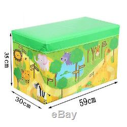 Kids Children Large Zoo/jungle LID Storage Toy Box Girls Boys Book Tidy Chest