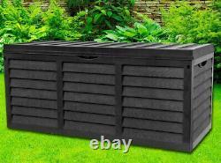 Large Garden Plastic Cushion Storage Box Wood Effect Outdoor Utility Chest Black