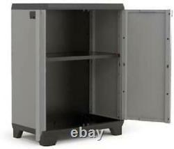 Large Grey Garden Storage Tool Box Cabinet Garage DIY Shed Shelves Lockable