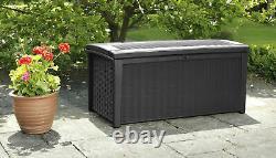 Large Keter Borneo Rattan effect Plastic Garden storage box Outdoor lidded Tool