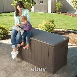 Lifetime Plastic Garden Storage Box Waterproof Twin Piston Lid Use As Bench