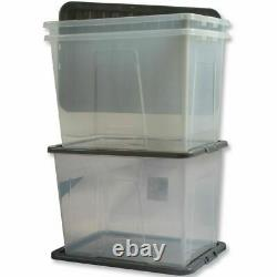 MULTI PACKS OF 80 Ltr PLASTIC CRYSTAL CLEAR STORAGE BOXES CONTAINERS BLACK LID