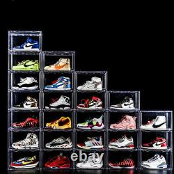 Magnetic Door Clear Stackable Shoe Storage Box For Shoes Sneakers Trainers