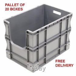 NEW 20 x 90 Litre Open Front Grey Plastic Euro Storage Container Boxes Box Bins