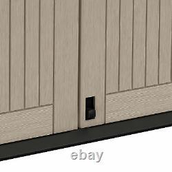 NEW 880L DURABLE Wood Effect Garden Storage Box Outdoor Wheelie Bin Shed Tools