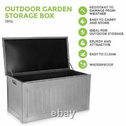 Outdoor Garden Plastic Storage Utility Chest Cushion Shed Box 190L Kids Children