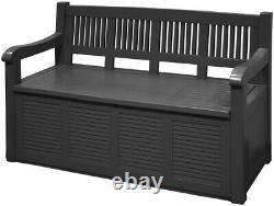 Outdoor Garden Seat Bench Storage Box with Lid 280 Litre Large Plastic Container