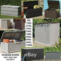 Outdoor Garden Storage Box Plastic Cushion Shed Box 90/120/270/280/550/640/842L